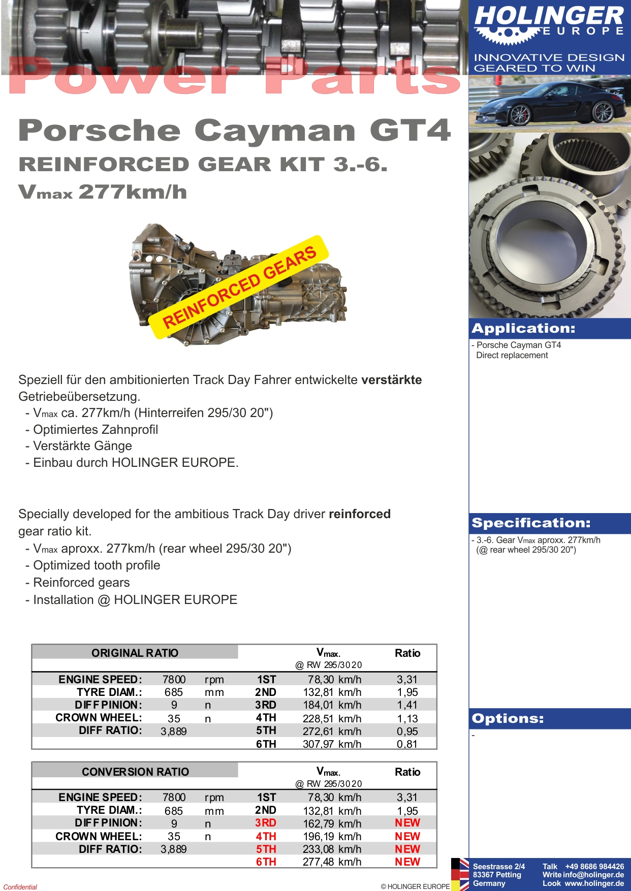 Porsche Cayman GT4 (PG81) 3.-6. gear set